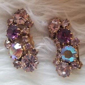 1960s Karu Arke Rhinestone Vintage Clip Earrings